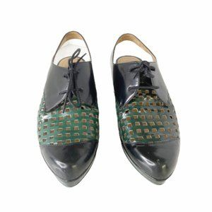 Audley London patent perforated loafers